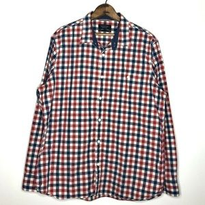 Nordstrom Red and Blue Plaid 100% Cotton Button Up
